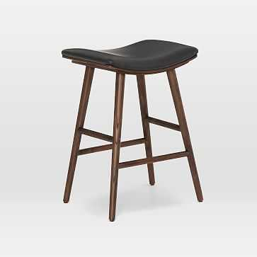Oak Wood + Upholstered Saddle Bar + Counter Stools, Warm Ash/Distressed Black - West Elm