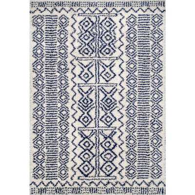 nuLOOM Hurley Tribal Shaggy Navy (Blue) 6 ft. 7 in. x 9 ft. Area Rug - Home Depot