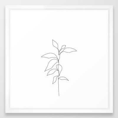 Single line plant drawing - Danya Framed Art Print - Society6