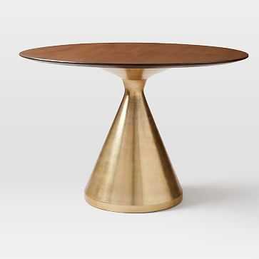 """Silhouette Pedestal Dining Table, 44"""" Round, Dark Walnut - West Elm"""