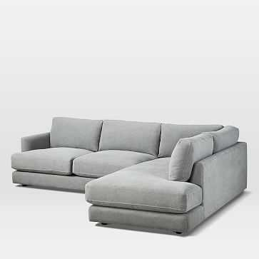 Haven Sectional 1, Left Arm Sofa, Right Arm Terminal, Performance Washed Canvas, Gray - West Elm