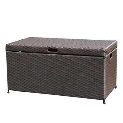 Espresso (Brown) Wicker Patio Furniture Storage Deck Box - Home Depot