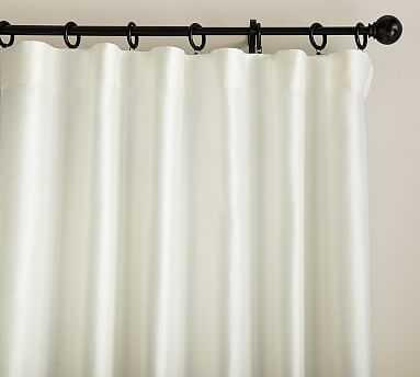 "Dupioni Silk Pole Pocket Drape with Blackout, 50 x 124"", Ivory - Pottery Barn"