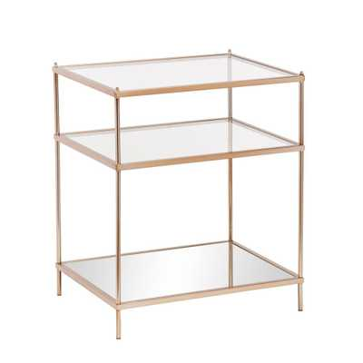 Melrose Metallic Gold Glass Top End Table - Home Depot