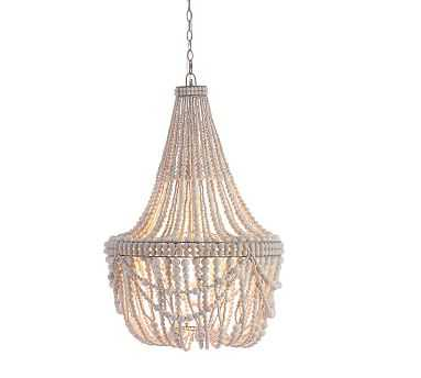 Francesca Beaded Chandelier, White-wash finish - Pottery Barn