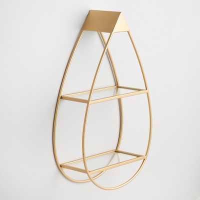 Gold and Glass Teardrop Wall Shelf by World Market - World Market/Cost Plus
