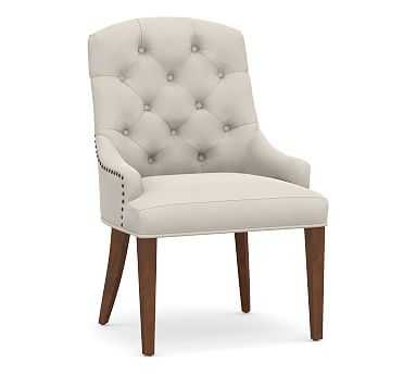 Lorraine Upholstered Tufted Chair with Heritage Oak Frame, Performance Everydaysuede(TM) Stone - Pottery Barn