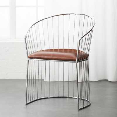 Ray Brown Leather Dining Chair - CB2