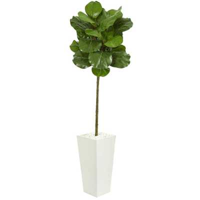 Nearly Natural Indoor 5.5-Ft. Fiddle Leaf Artificial Tree in White Tower Planter - Home Depot