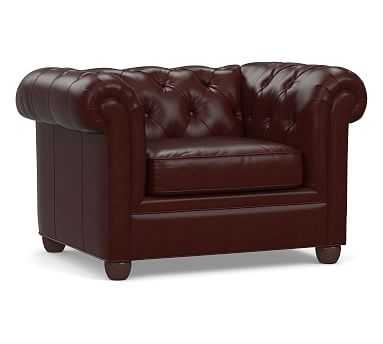 Chesterfield Roll Arm Leather Armchair, Polyester Wrapped Cushions, Signature Espresso - Pottery Barn