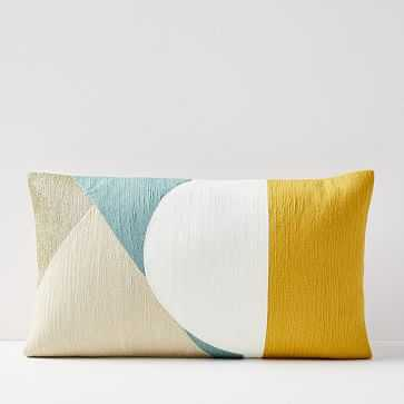 "Crewel Colorblock Splice Pillow Cover, Golden Yellow, 12""x21"" - West Elm"