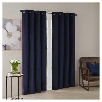 "Vienna Solid Velvet Window Curtain Panel Navy (Blue) (50""x95"") - Target"