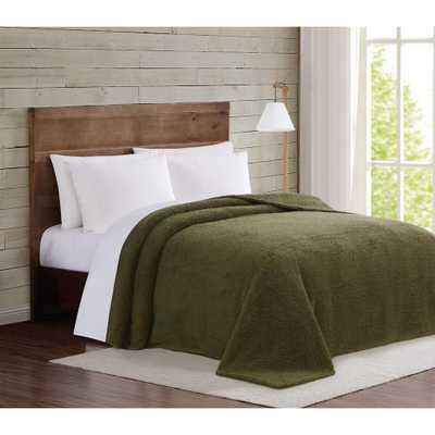 Olive Green Marshmallow Sherpa King Blanket - Home Depot