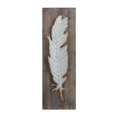 Metal Feather Wood and Metal Wall Sculpture, Grey - Home Depot