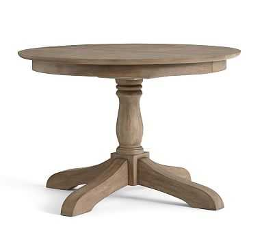 "Owen Extending Pedestal Dining Table, 45"" - 62"" L, Weathered Gray - Pottery Barn"