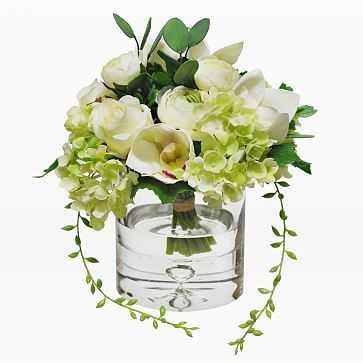Mixed Flower Bouquet in Cylinder Vase, Orange - West Elm