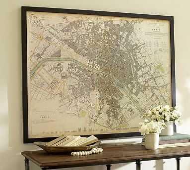 "Vintage Inspired Paris Map Framed Print, 41 x 32"" - Pottery Barn"