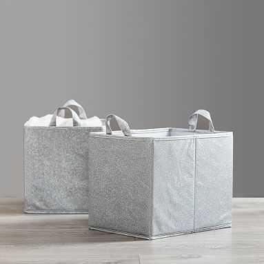Silver Glitter Storage Bins, Set of 2 - Pottery Barn Teen