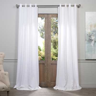 Exclusive Fabrics & Furnishings Heavy Faux White Grommet Polyester Linen Room Darkening Curtain - 50 in. W x 96 in. L - Home Depot