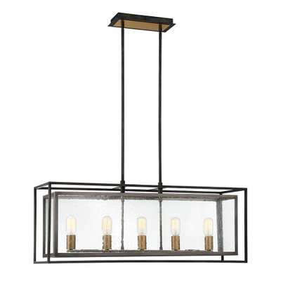 Eurofase Affilato 5-Light Black Chandelier with Clear Seeded Glass Shade - Home Depot