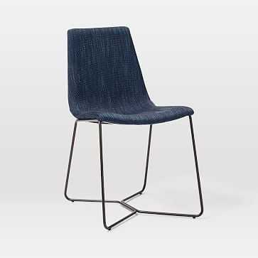 Slope Upholstered Dining Chair, Basket Slub, Midnight, Antique Bronze - West Elm