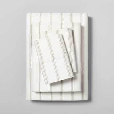 King Sheet Set Organic Tic Stripe Sour Cream / Pebble (Sour Cream/Pebble) - Hearth & Hand with Magnolia - Target