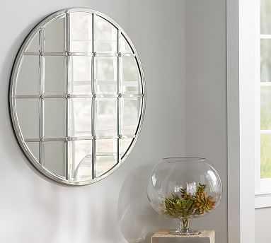 "Eagan Multipanel Round Mirror, 44"", Silver Finish - Pottery Barn"