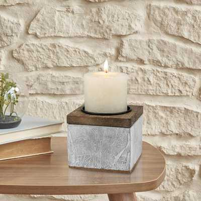 4 in. Cement Pillar Candle Holder, Gray - Home Depot