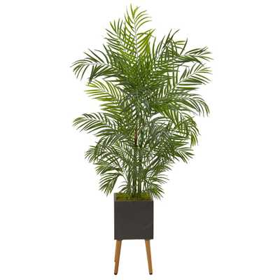 Nearly Natural 6 ft. Areca Artificial Palm Tree in Black Planter with Stand UV Resistant (Indoor/Outdoor) - Home Depot