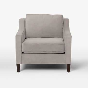 Paidge Chair, Down Blend, Performance Velvet, Dove Gray, Cone Chocolate Legs - West Elm