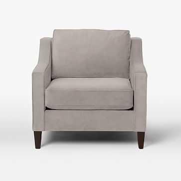 Paidge Chair, Down Blend, Performance Velvet, Dove Gray, Cone Chocolate Legs - West Elm