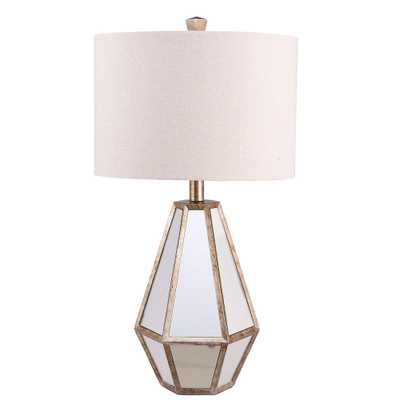 Catalina Lighting 25.75 in. Antique Silver Faceted Mirrored Table Lamp with Linen Shade - Home Depot