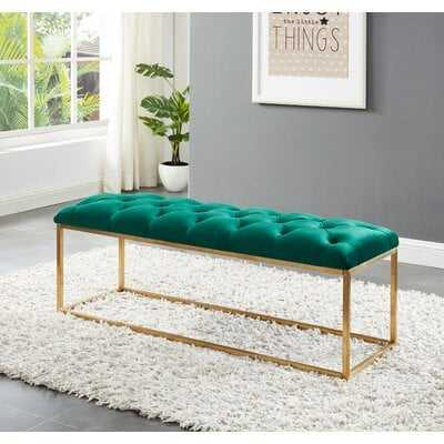 Benkelman Bench With Gold Colored Legs - Black Velvet - Wayfair