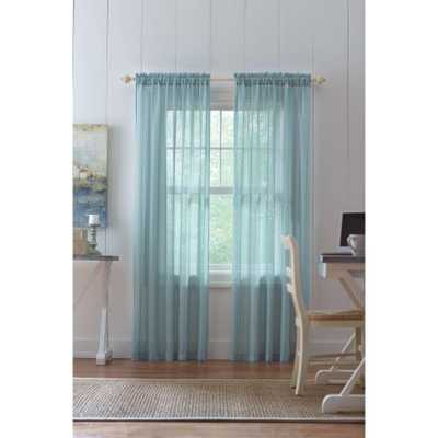 Home Decorators Collection Sheer Aqua (Blue) Highline Textured Sheer Rod Pocket Curtain - 52 in. W x 84 in. L - Home Depot
