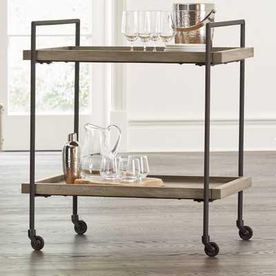 Beckett Grey Wash Rolling Bar Cart - Crate and Barrel