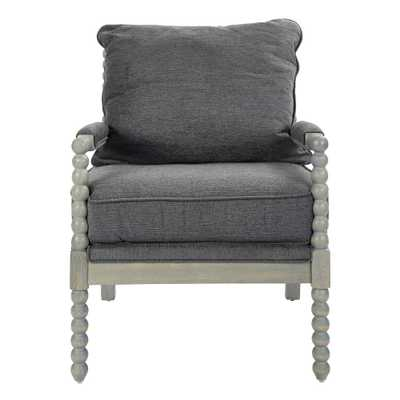 OSP Home Furnishings Abbot Charcoal Fabric Chair with Brushed Grey Base, Charcoal Polyester - Home Depot