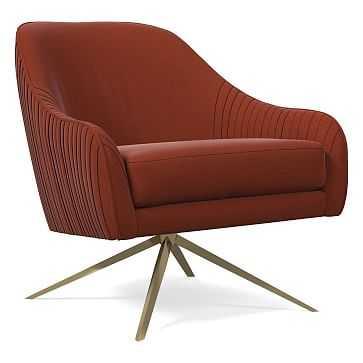 Roar & Rabbit Swivel Chair, Poly, Distressed Velvet, Rust, Antique Brass - West Elm
