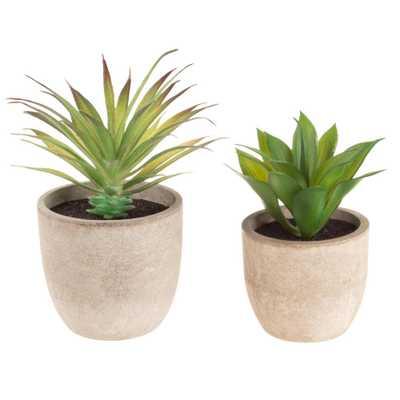 Pure Garden Faux Aloe Plant Arrangements in Stone Pots (Set of 2) - Home Depot