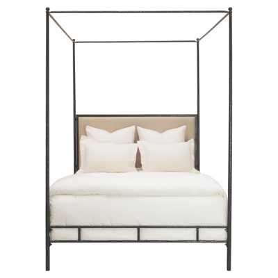 Oly Studio Marco Hammered Bronze Leather Canopy Bed - King - Kathy Kuo Home