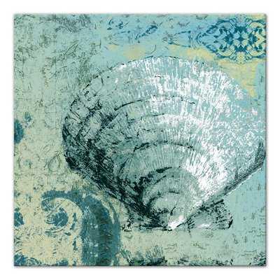 'Sea Green Clam Shell Coastal' Graphic Art Print on Wrapped Canvas - Wayfair