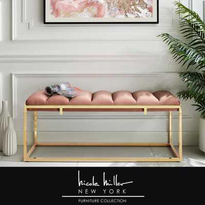 Nicole Miller Judson Pink Velvet Bench with Channel Tufted Metal Frame, Blush/Gold - Home Depot