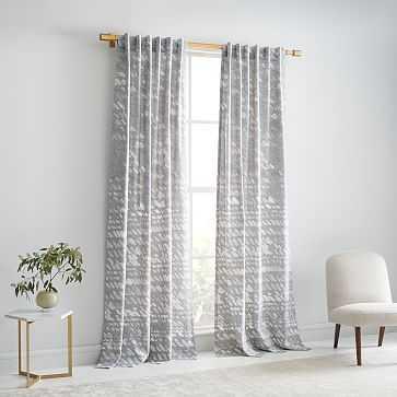 "Slanted Dot Print Curtain ,Set of 2, 48""x84"", Stone Gray - West Elm"