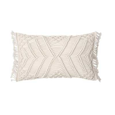 Shahi 12 in. x 20 in. Hand Crafted Crochet Ivory Standard Throw Pillow - Home Depot