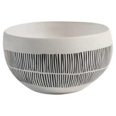 Jamie Modern Classic Black & White Lines Ceramic White Bowl - Medium - Kathy Kuo Home
