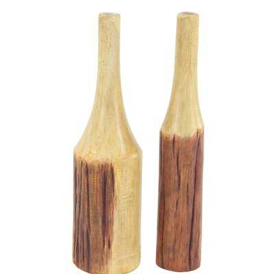 Whately Rustic Bottle Wood 2 Piece Floor Vase Set - Wayfair