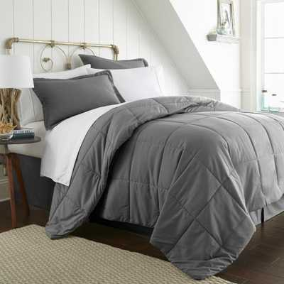 Bed In A Bag Performance Gray Queen 8-Piece Bedding Set - Home Depot