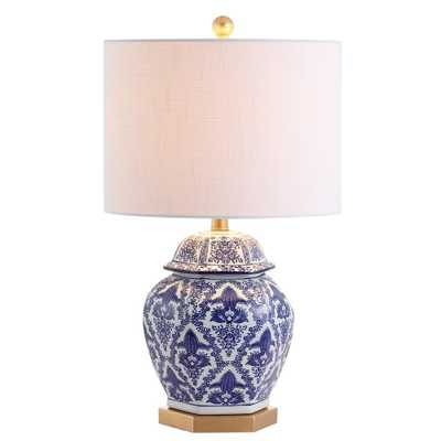 JONATHAN  Y Gretchen 25 in. Ginger Jar Ceramic/Metal LED Table Lamp, Blue/White - Home Depot