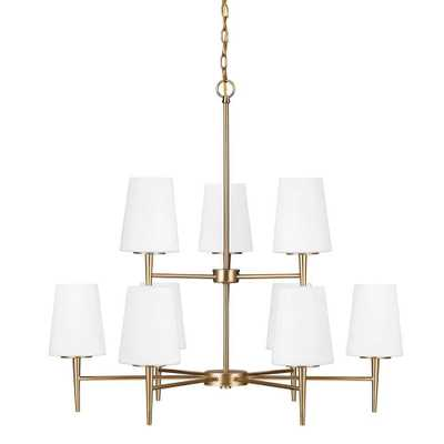 Sea Gull Lighting Driscoll 9-Light Satin Bronze Chandelier with Inside White Painted Etched Glass - Home Depot