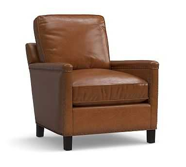 Tyler Leather Armchair with Bronze Nailheads, Down Blend Wrapped Cushions, Leather Statesville Caramel - Pottery Barn