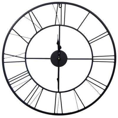 Metal Cutout Roman Numeral Black Wall Clock - Home Depot